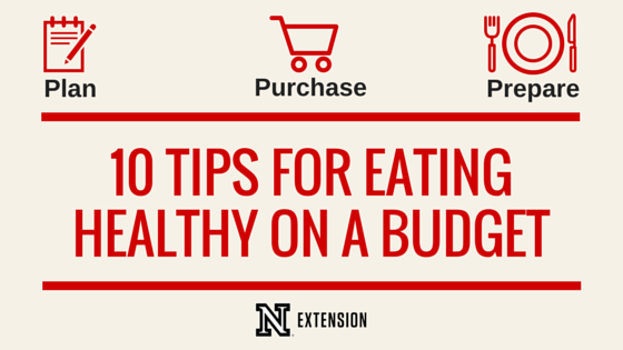 10 Tips for Eating Healthy on a Budget Blog Graphic