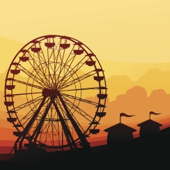 Amusement park with ferris wheel background with copy space.