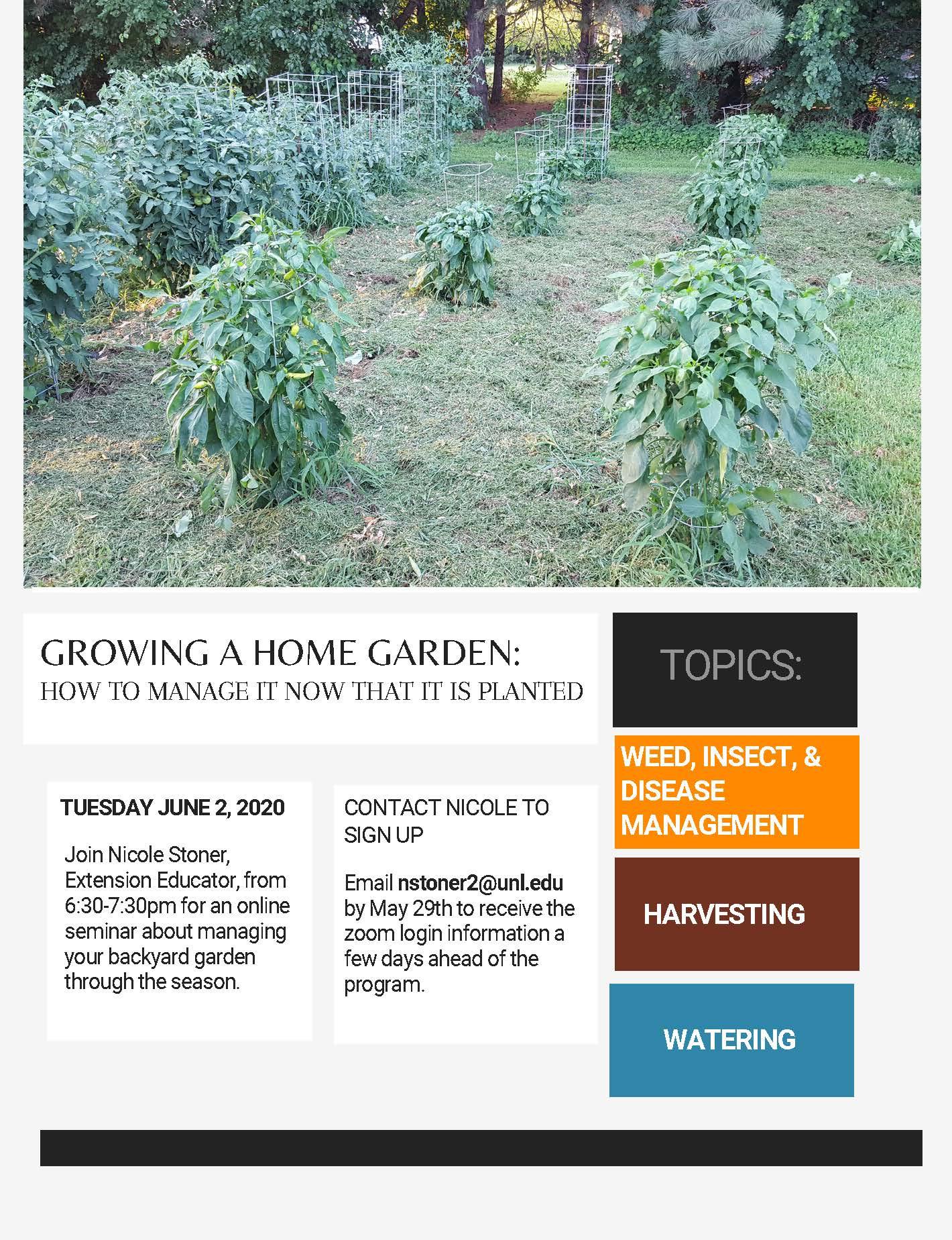 Gardening Online Program Flyer, 2020